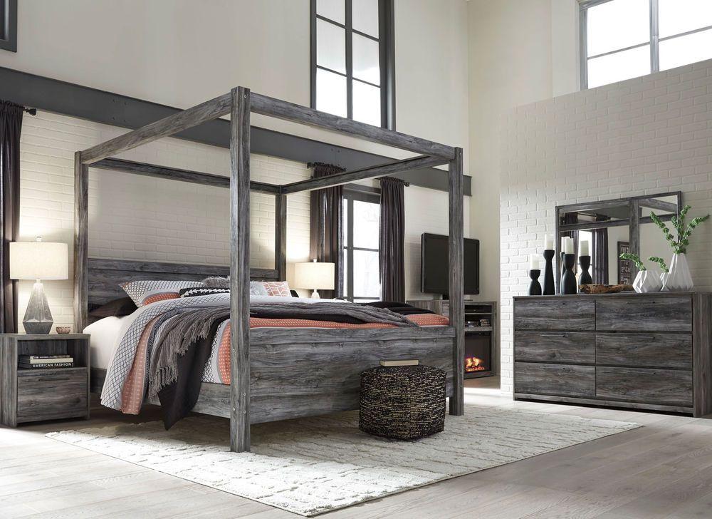 AMBROSE 5 pieces Modern Smokey Gray Bedroom Set w/ King