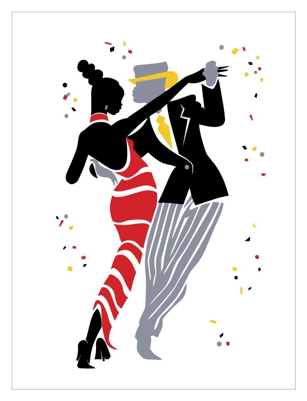 Открытка танцоров, открытка днем