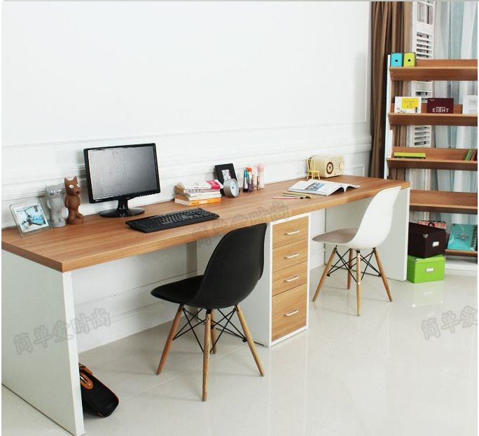 Double long table desk computer desk home desktop computer desk minimalist modern desk with drawers IKEA