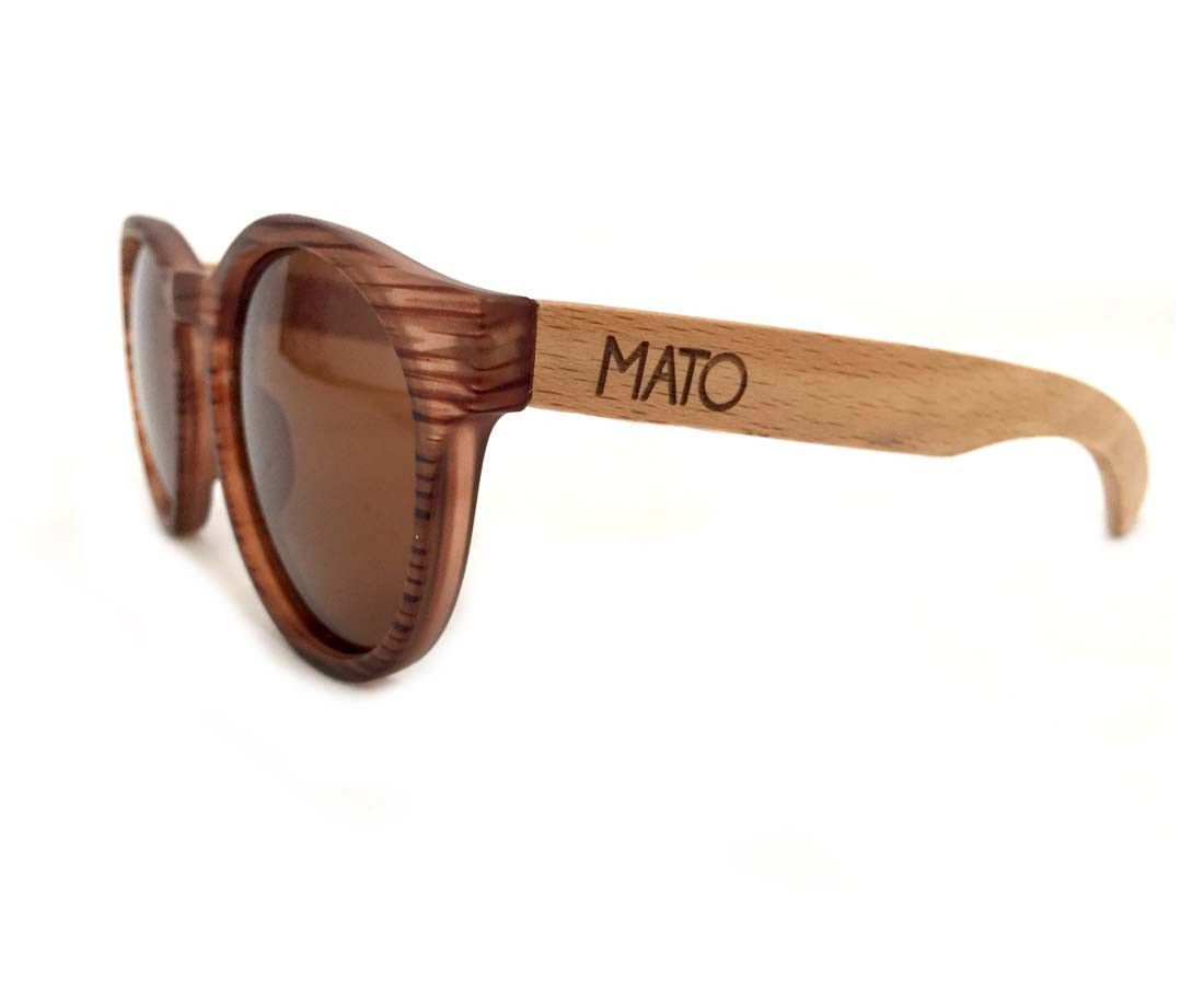 e9db9080be Mato Handmade Eco-friendly Wooden Sunglasses with Bamboo Handle Erika Round  Shaped Unisex Polarized Sunglasses Brown Lens