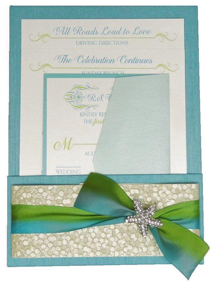 tiffany fabric covered pocket panel invitation folio with pearl