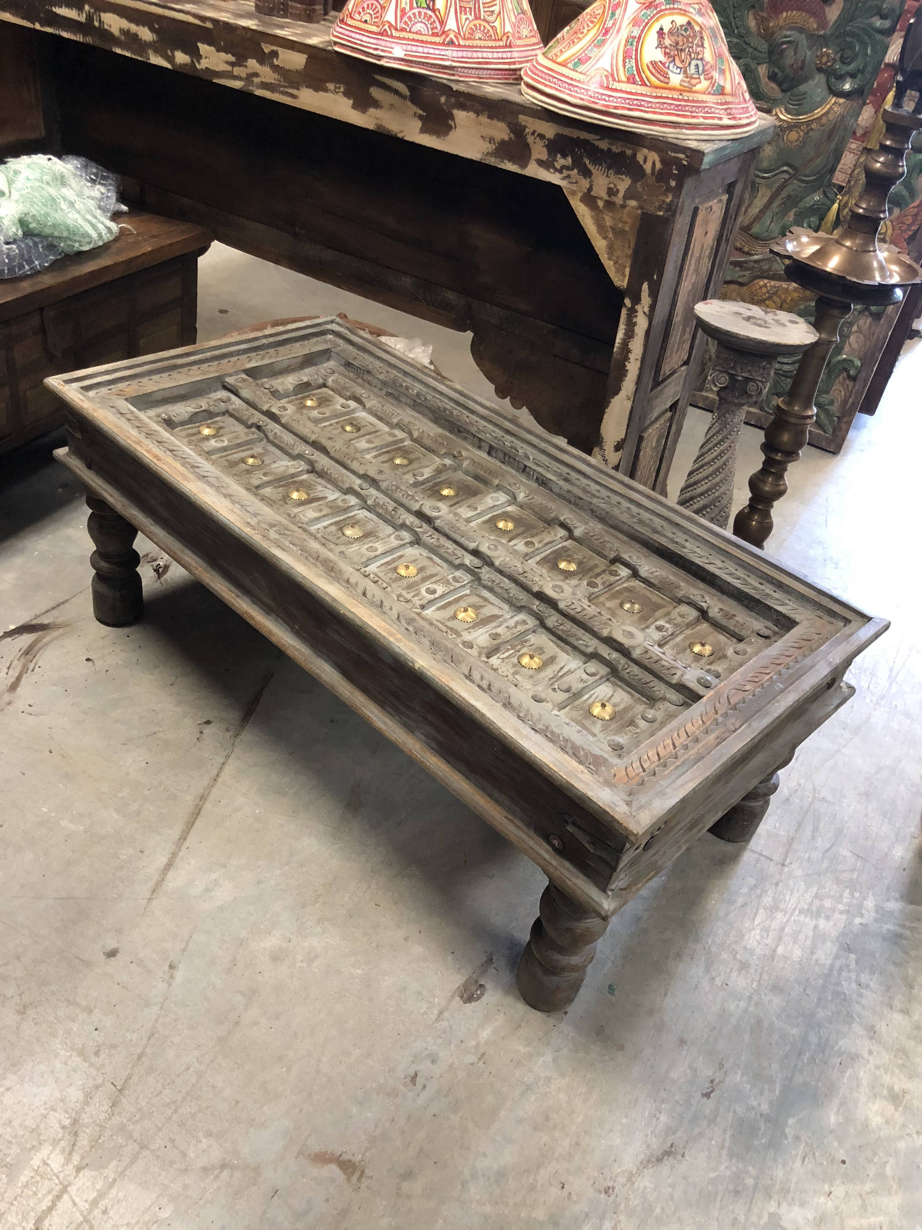 Antique Indian Handcarved Coffee Table Unique Hotel Design Rustic Vintage Furniture Farmhouse Decor Chai Table Am Coffee Table Rustic Doors Indian Coffee Table