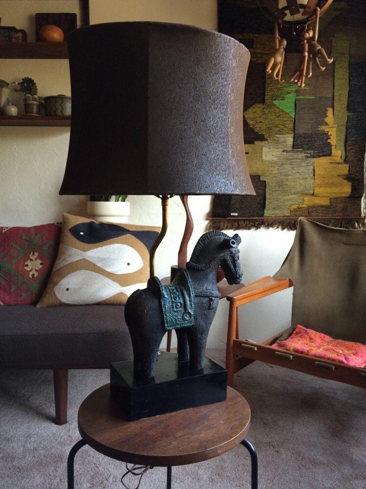 Aldo Londi Bitossi Rimini Blue Grey Italian Ceramic Horse Lamp