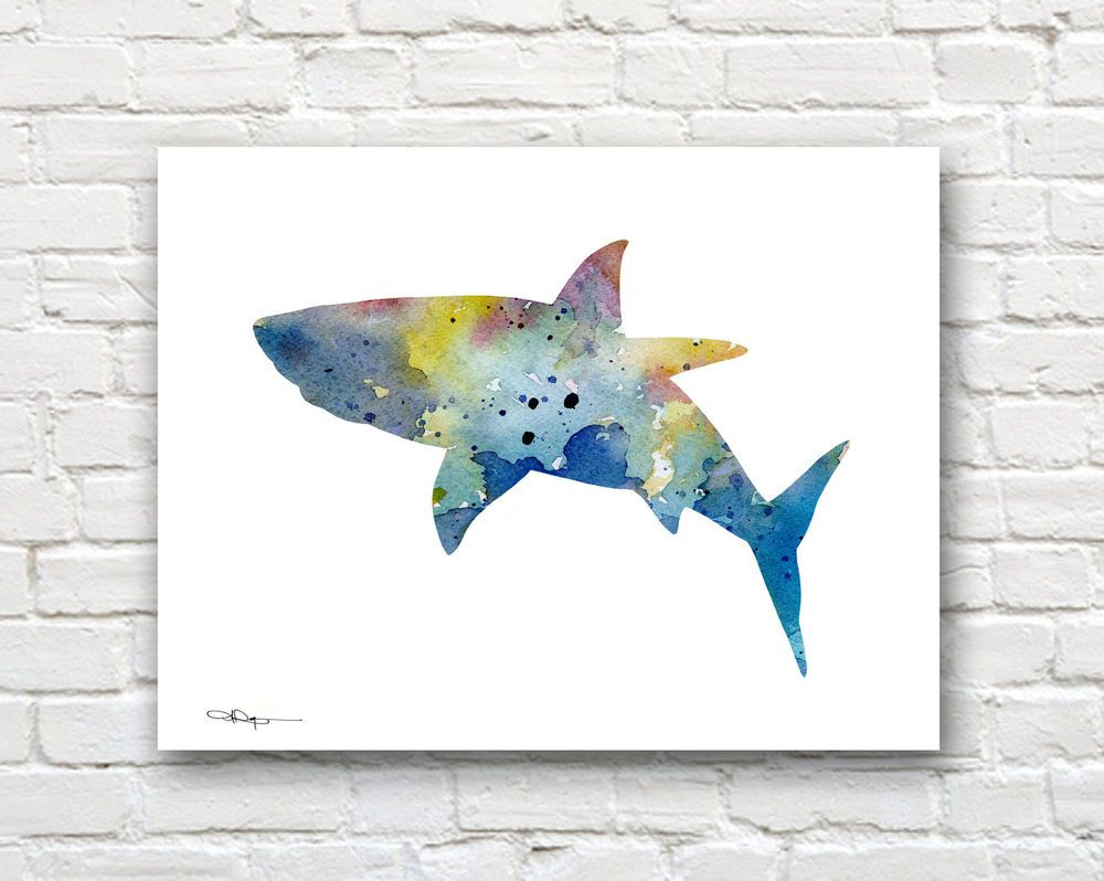 Details about Shark Art Print Abstract Watercolor Painting ...