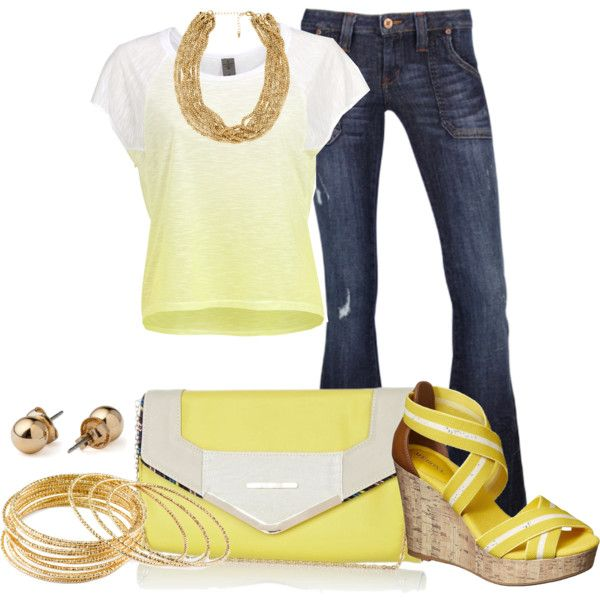 Yellow + Denim by irenesdreams on Polyvore featuring Vero Moda, Frankie B., Merona, River Island, H&M and American Apparel