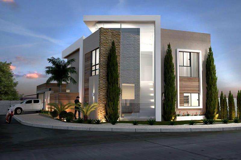 Planta de casa esquina modern bungalow exterior house facades design also houses pinterest rh