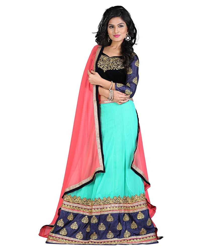 916e40f7629d6 Greenvilla Designs Multi Color Pure Georgette Semi Stitched Lehenga ...