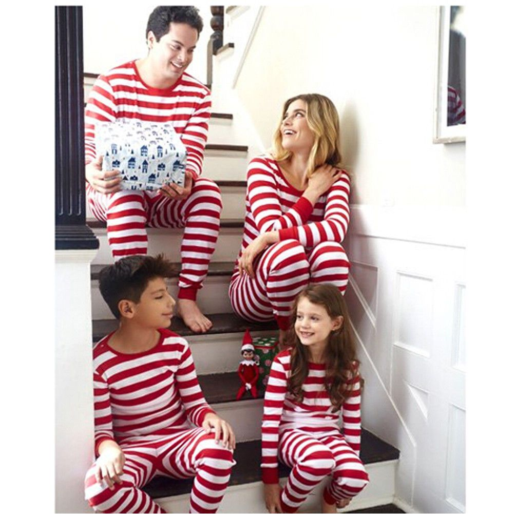 UK Family Matching Christmas Pyjamas Pjs Set Xmas Striped Sleepwear Nightwear