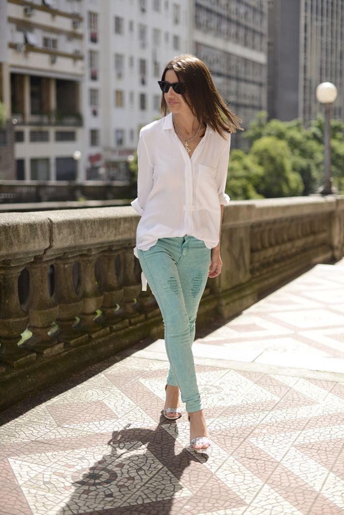 White shirt and colored pants