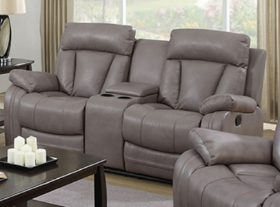 Modesto Double Reclining Loveseat with Consoles in Grey