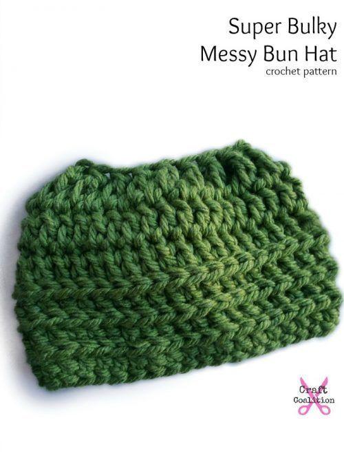Super Bulky Oversized Messy Bun Hat crochet pattern by Celina Lane ...