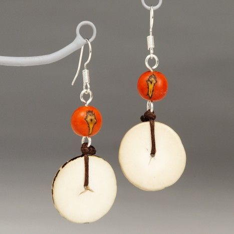Happy Chance Earrings You may know the acai fruit for its powerful antioxidants, but you may not have heard of acai seed jewelry. These earrings are a creative design from the Sapia artisan group in Colombia. Incorporating both acai seeds and tagua nut slices, these earrings will show off your playful side.