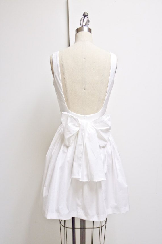 12d85ded1ae Low Back White Cotton Dress with Pockets Perfect by LanaStepul ...