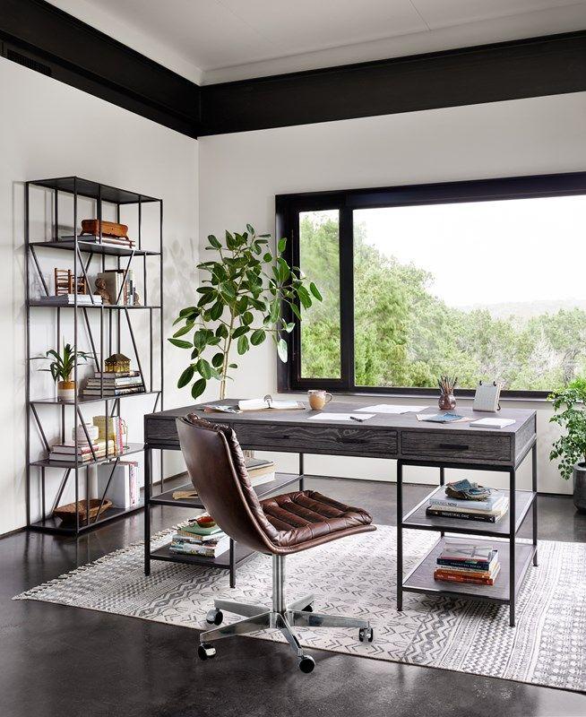 Campbell Pine Open Style Desk, Malibu Top-Grain Leather
