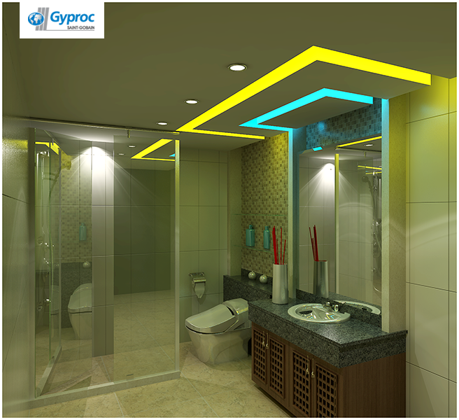 Gyproc #falseceiling Can Completely Change Your Bathroom & Give It A Refined And Artistic Look