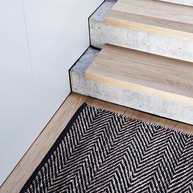 Concrete Stairs With Pretty Timber Treads Interesting Design Idea Contemporary Stairs Concrete Stairs Entrance Mat