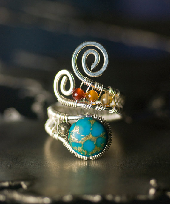 Turquoise+Agate+Pyrite+Argentium+Silver+Wirework+by+mossandmist,+$55.00