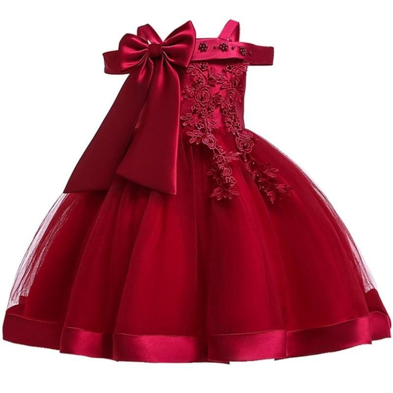 Baby Girls Kids Feather Christmas Party Birthday Tutu Princess Bow Dresses Red