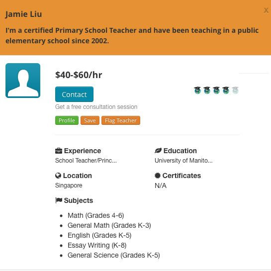 All the way to Singapore! Yep...we have WebTeachers all over the world which means you can find a tutor 24/7. We like Jamie's profile... he can assist your child and help improve grades.