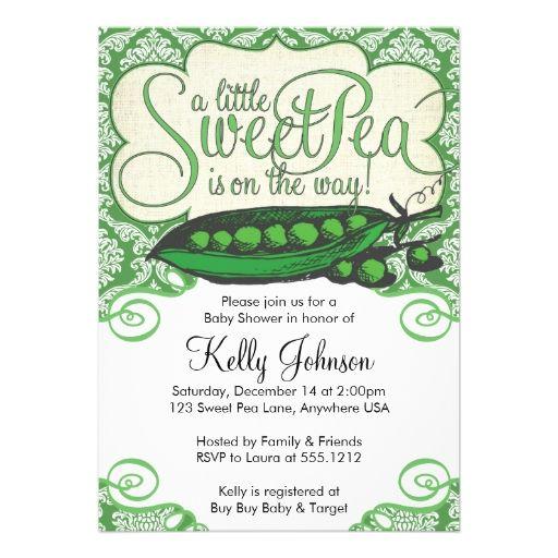 Sweet Pea Baby Shower Invitation Pea Pod Theme Baby Shower