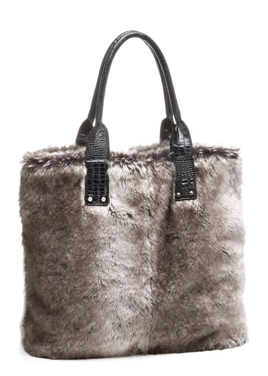 be9f9152e689 Chinchilla Faux Fur Tote