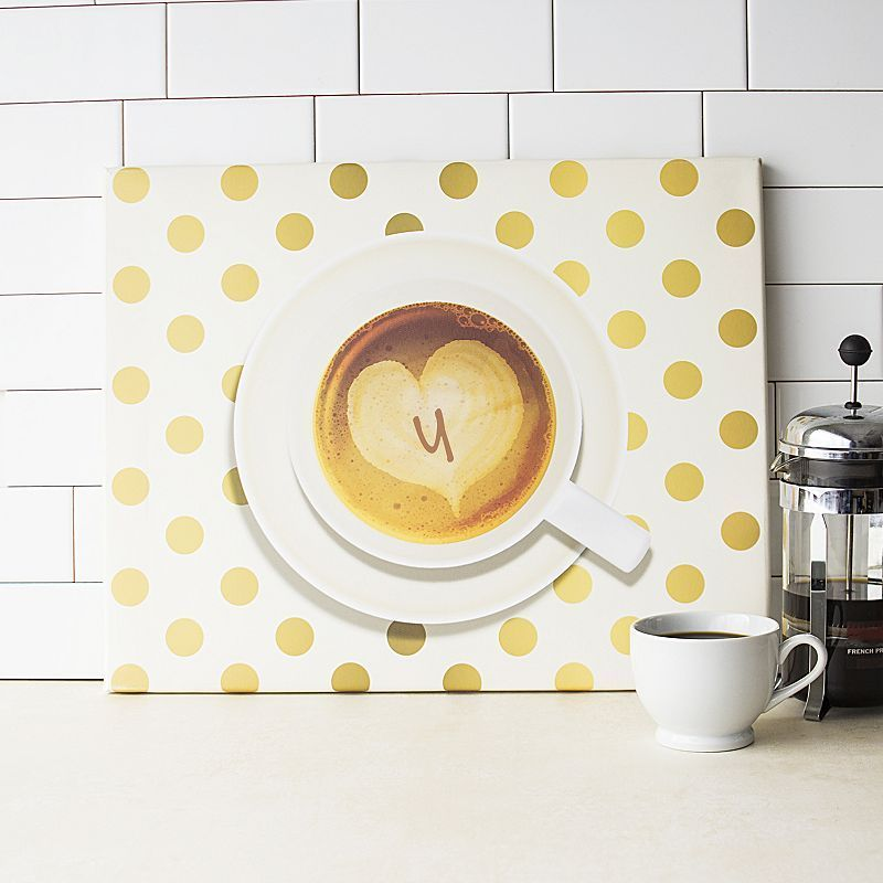 Cathy's Concepts Monogram Coffee Canvas Wall Decor, Brown