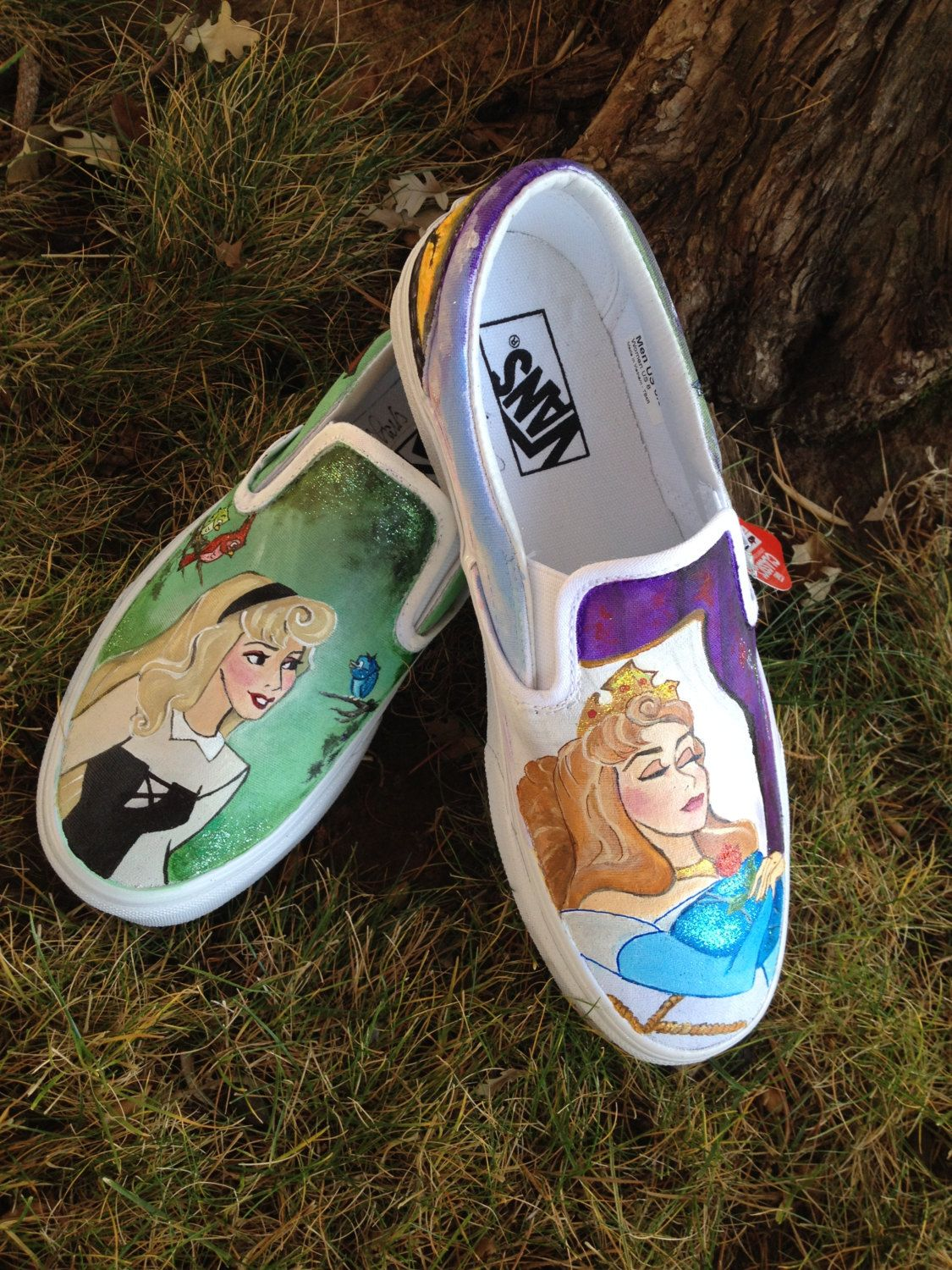 Sleeping Beauty Painted Shoes/ Custom Shoes by