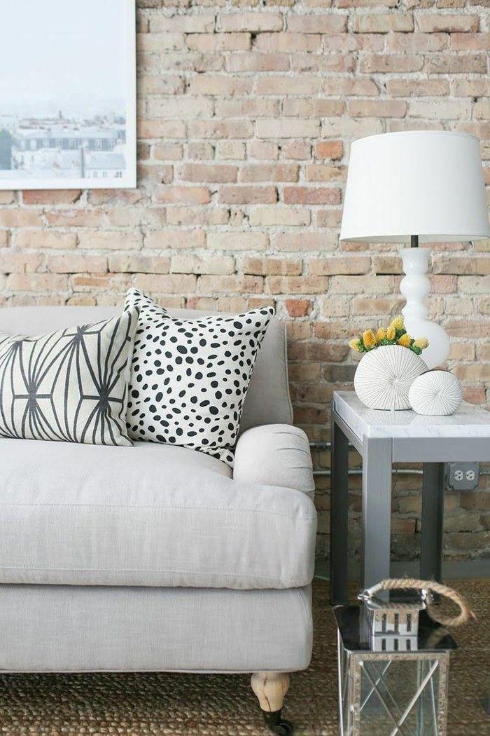 wandgestaltung ideen steinoptik wohnideen wohnzimmer Pinterest
