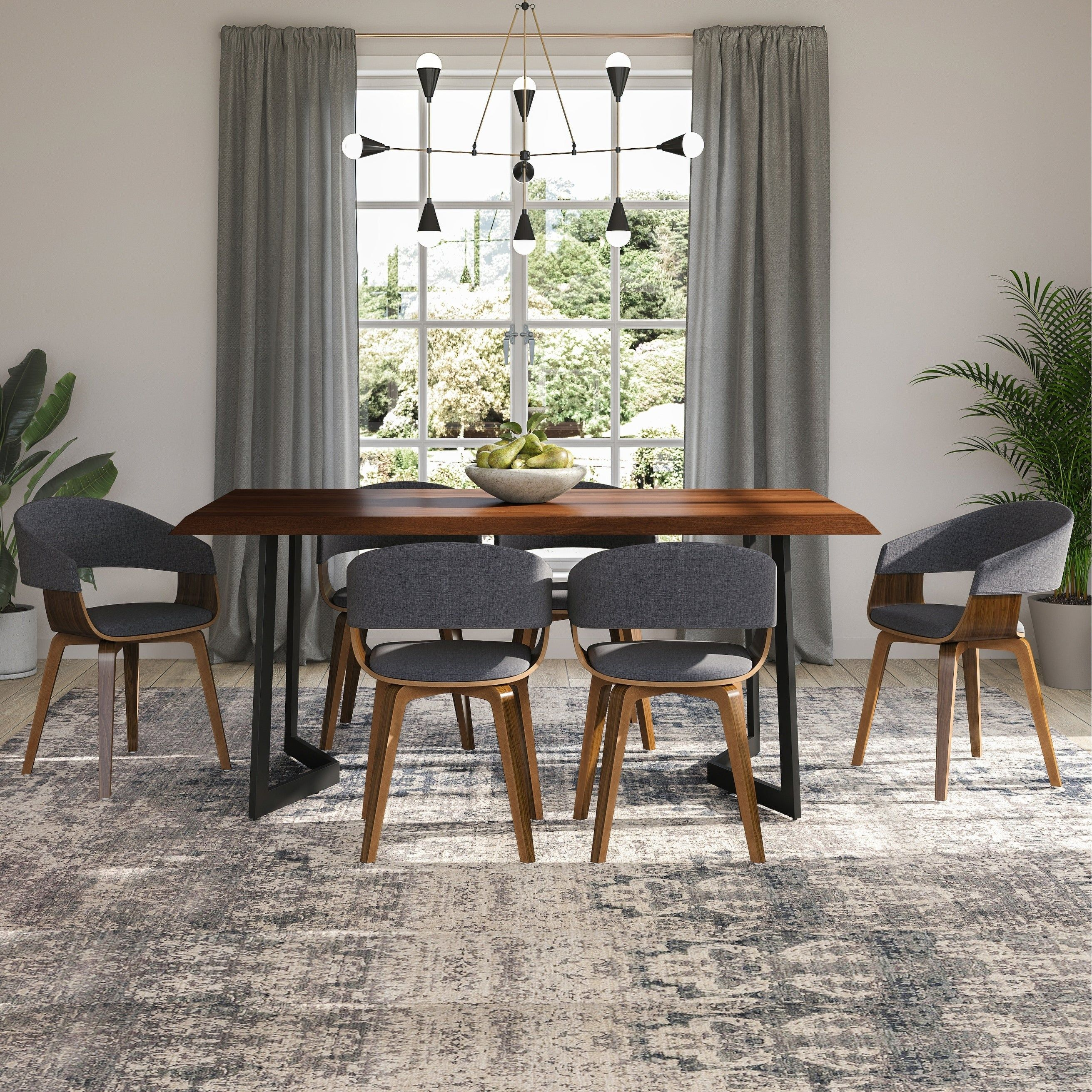 Wyndenhall Hathaway Solid Mango Wood Dining Table With Inverted Metal Base In Dark Brown 72 Inches Wide Mango Wood Dining Table Dining Table Metal Dining Table