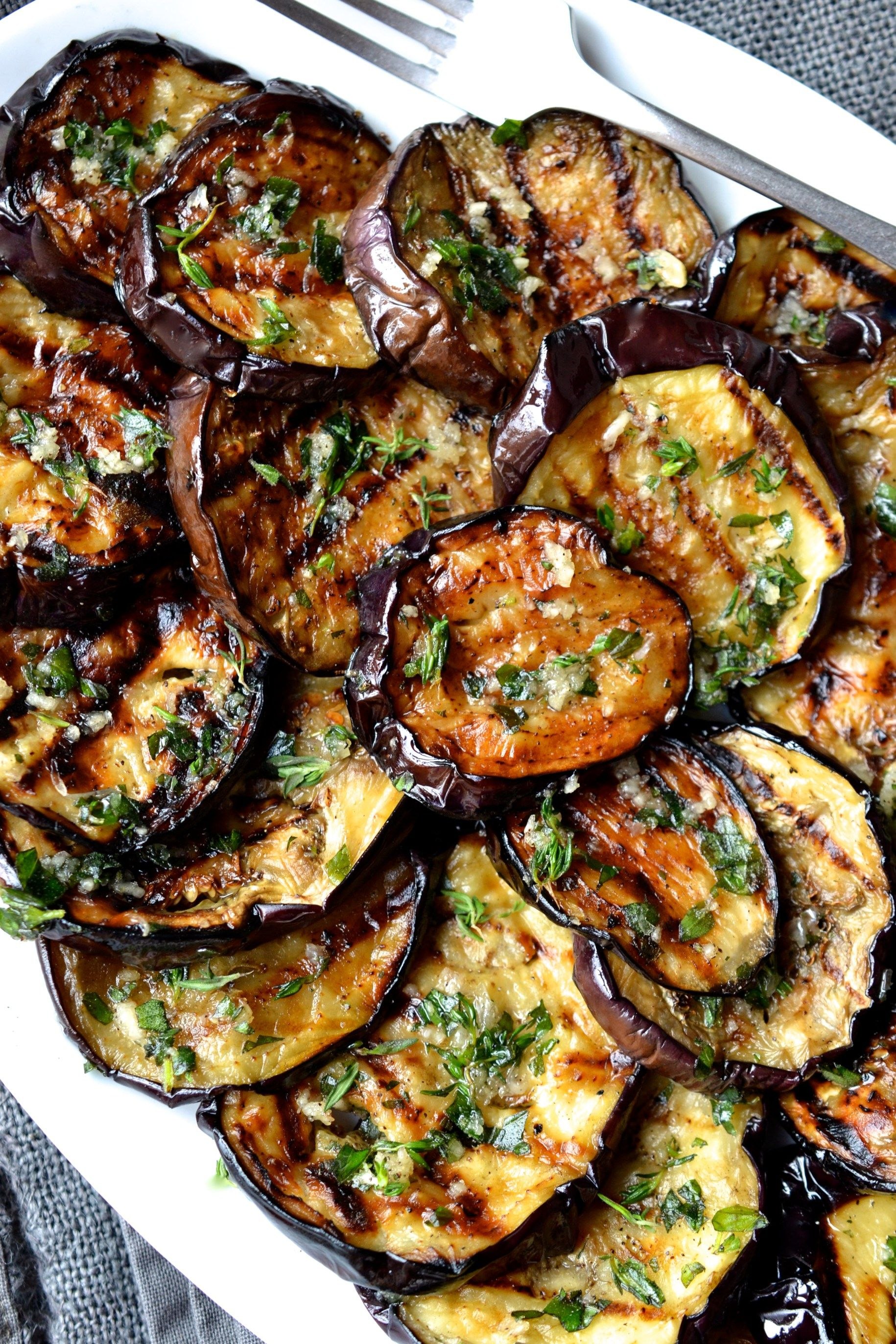Grilled Eggplant with Garlic & Herbs #grillingrecipes