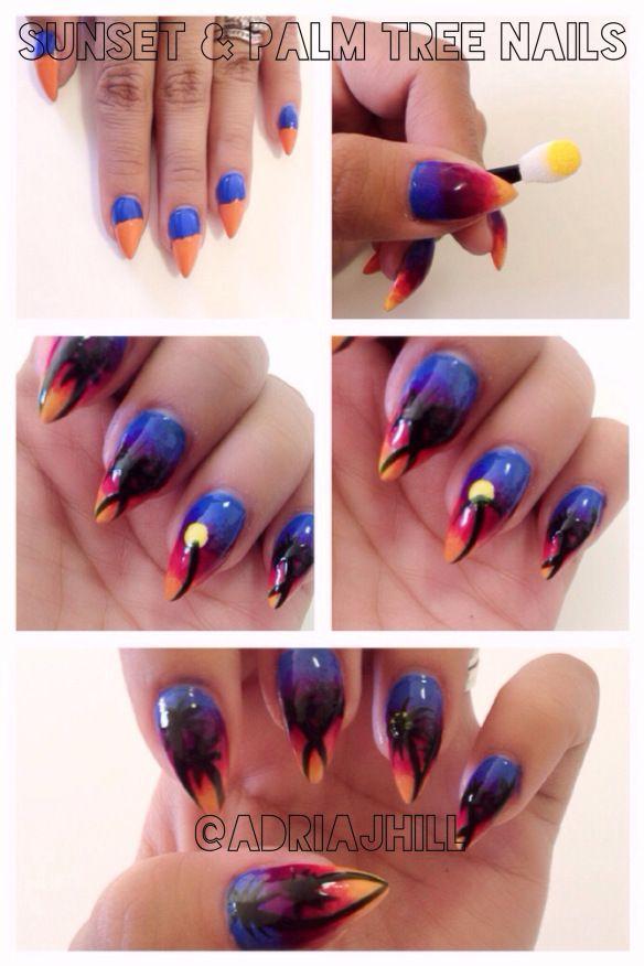 Palm tree nail DIY