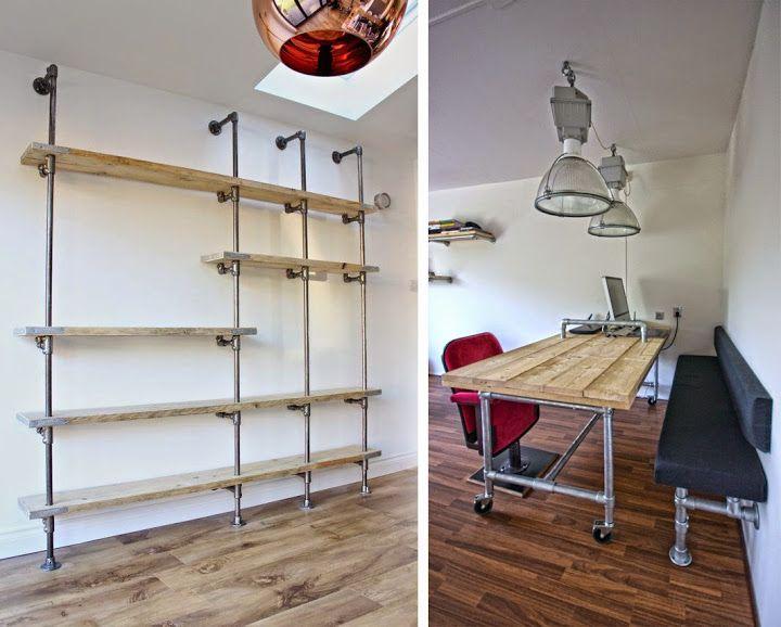 industrial look 26 stylische m bel aus rohrverbindern room design pinterest. Black Bedroom Furniture Sets. Home Design Ideas