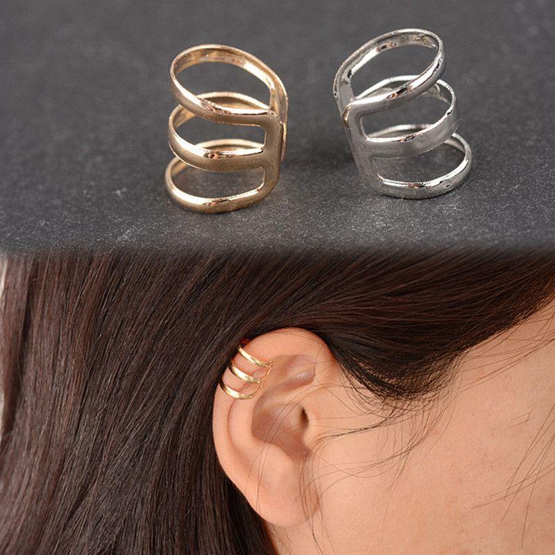 Es131 nuevo estilo de antiguas complejo hueco en forma de u pendientes de clip no perforar hueso del oído pendientes de clip de oreja invisible hombres y mujeres