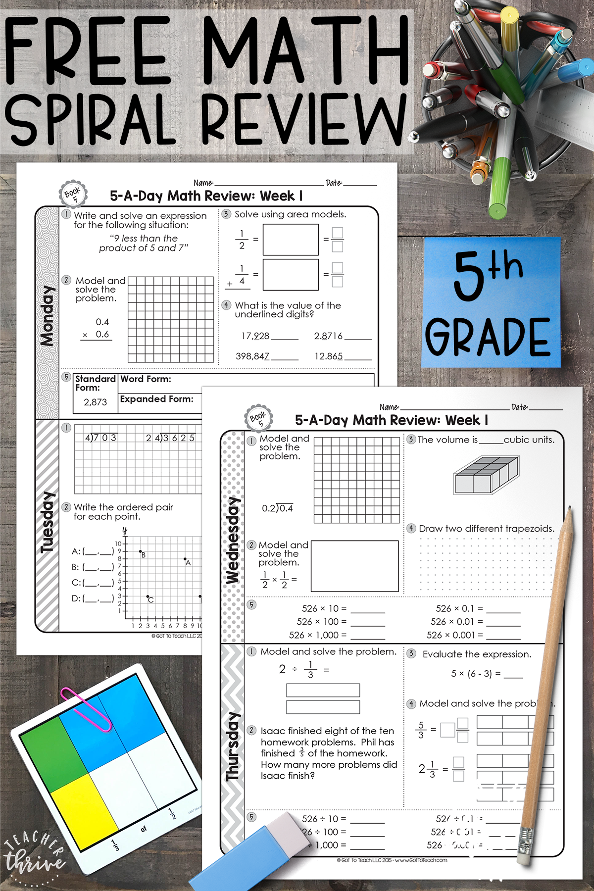 Free 5th Grade Daily Math Spiral Review