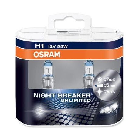 Osram H1 448 Night Breaker Unlimited Twin Pack Bulb Headlight Bulbs Halogen Bulbs