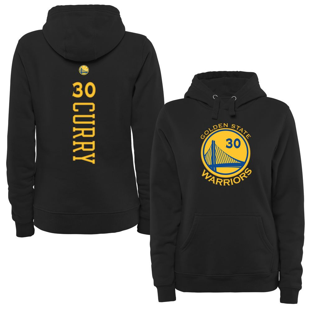 Women s Golden State Warriors Stephen Curry Black Backer Pullover Hoodie c8c93e4ab99