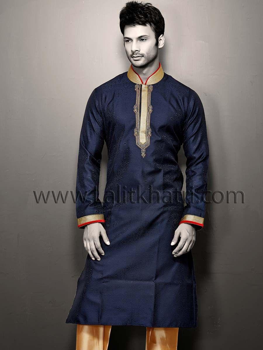 Navy blue jacquard kurta things to wear pinterest