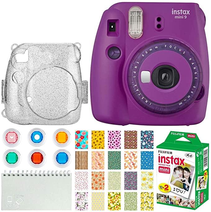 Fujifilm Instax Mini 9 Instant Film Camera Purple With Clear Accents Instax Film 20 Shots Glitter Fujifilm Instax Mini Instax Mini Instax