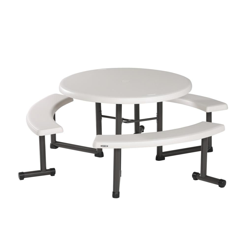 Lifetime Resin Outdoor Almond 44 In Round Folding Picnic Table Round Picnic Table Folding Picnic Table Picnic Table