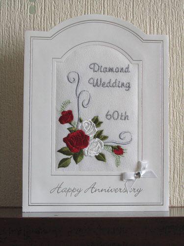Homemade 60th Wedding Anniversary Decorations Diamond Card Roses Scroll Design