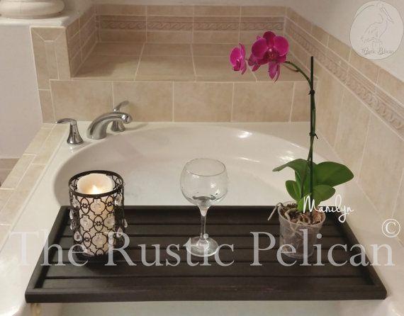 Rustic Bathtub Tray - Bathtub Caddy- Tub Tray -Wood bath Tray - Tub