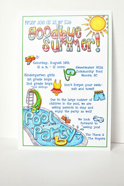 End Of Summer Party With Images Pool Party Invitations Swim