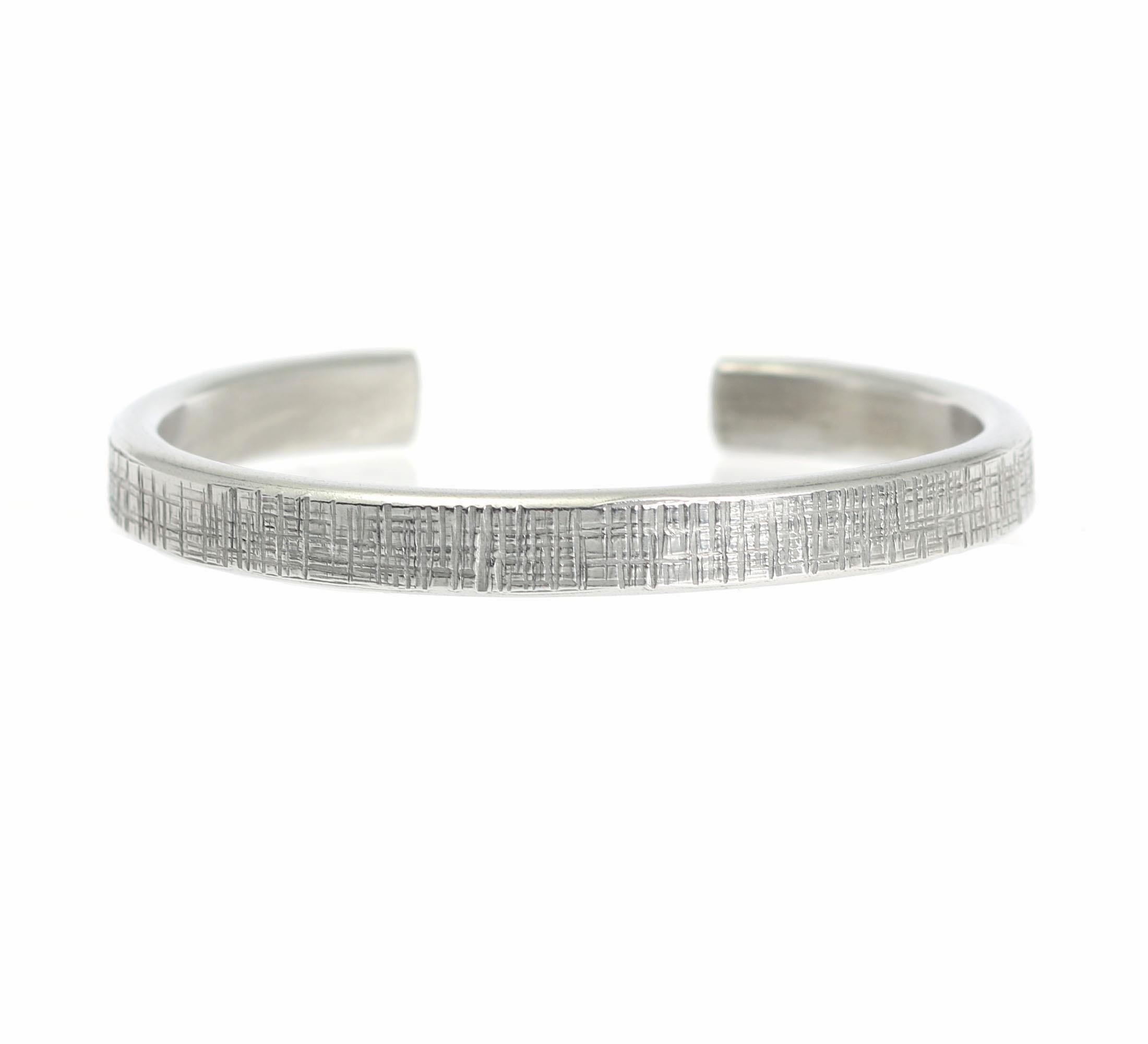 New! Top 7mm Thin Linen Silver Tone Cuff Bracelet Presented on #AmazonHandmade #Cuffs http://www.amazon.com/dp/B01AIS7DBM