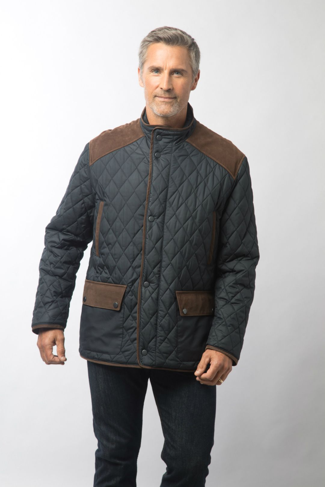 Men s Sapphire Quilted Jacket w/Suede Leather Trim Jacket