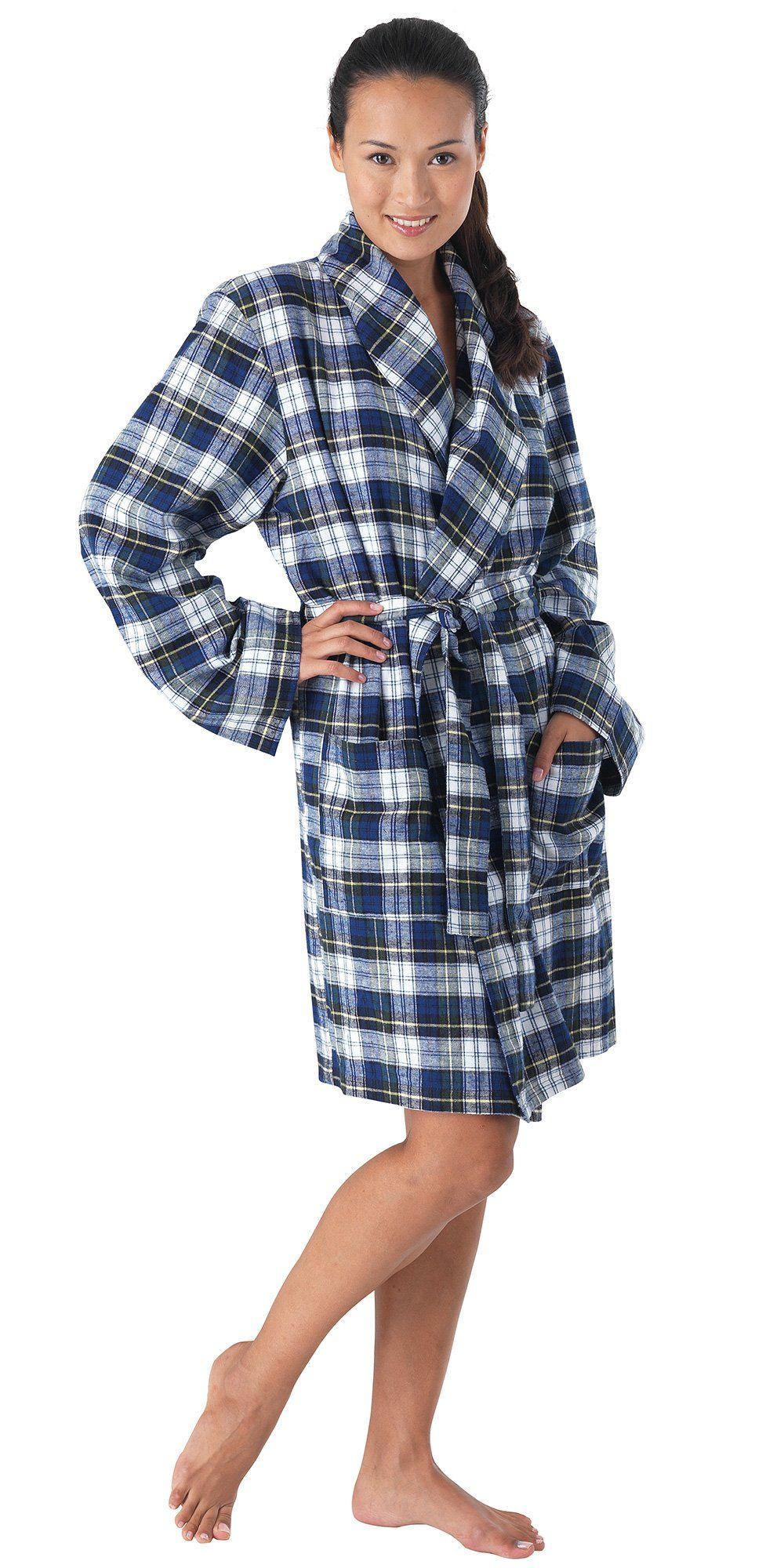 c4e1f0fb5d83 Classic Tartan Plaid Brushed Cotton Flannel Robe for Women at Amazon Women s  Clothing store  Bathrobes