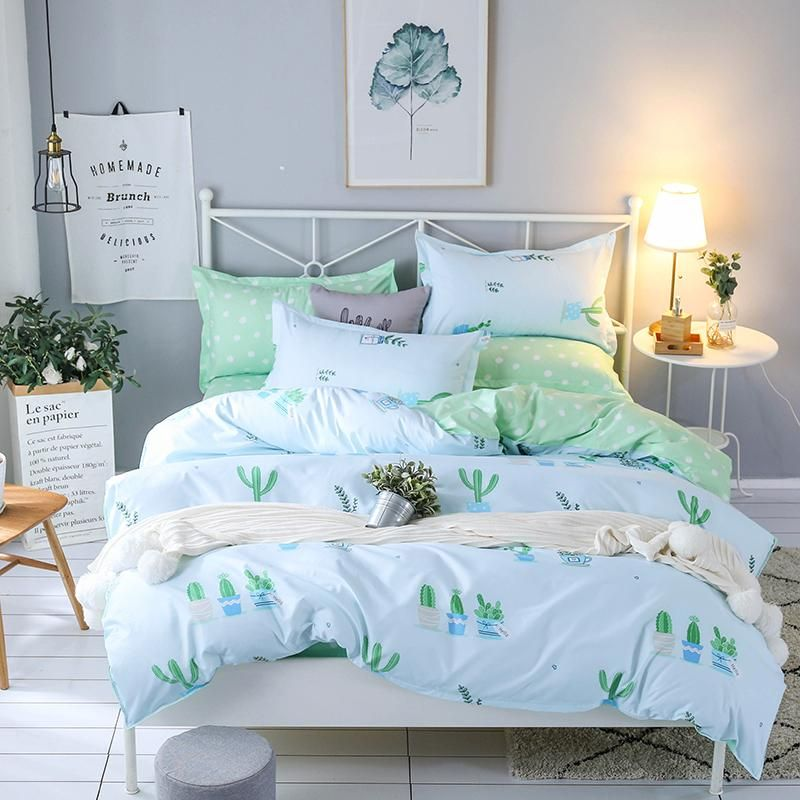 Bedding Set Queen Size 4pc Duvet Cover Sets Twin Full Size Polyeter Duvet Cover Home Textile Wholesale C Bed Linens Luxury Farmhouse Bedding Sets Green Bedding