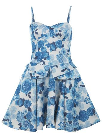 China blue flared skirt mini dress