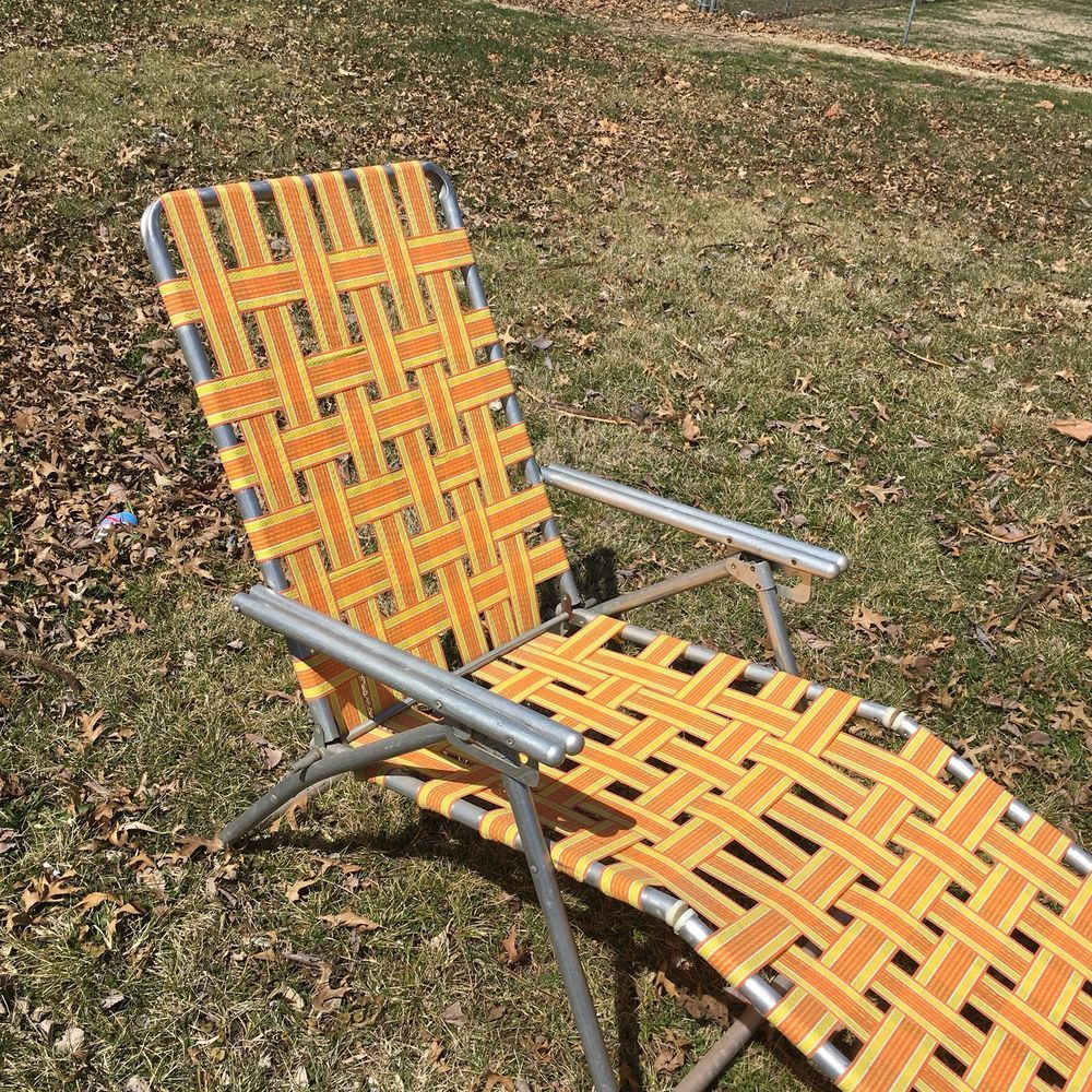 Webbed Chaise Lounge Chairs Rocking Chair Slipcover Vtg Tube Aluminum Folding Lawn Patio Orange Yellow Home Garden Yard Outdoor Living Furniture