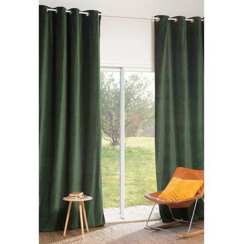 Rideau à œillets en velours vert 140 x 300 cm FORÊT   Nedervåningen ...