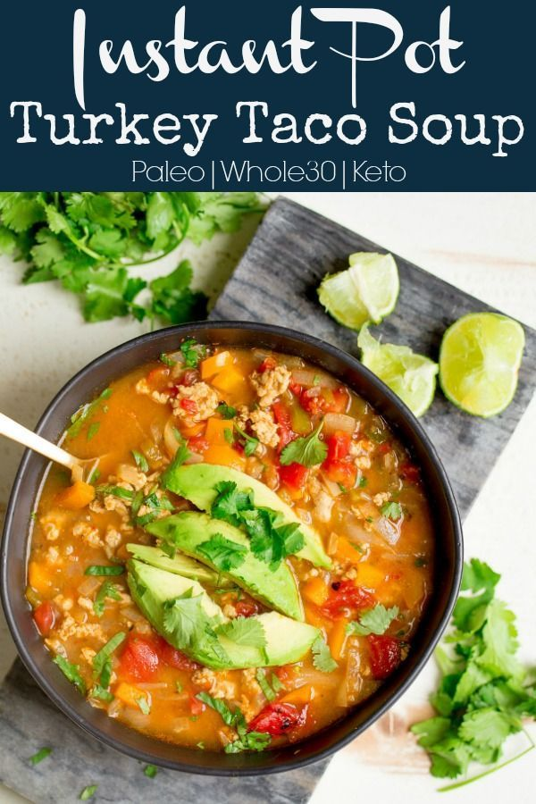 Instant Pot Ground Turkey Taco Soup - Wholesomelicious